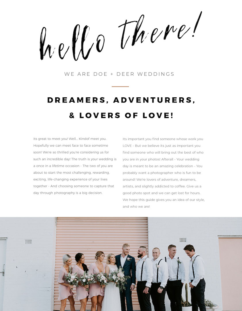 Doe + Deer Wedding Photography Pricing Guide_0001_Pg 2 - Hello + Welcome!